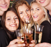 Group young people at nightclub. Royalty Free Stock Image