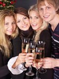 Group young people at nightclub. Royalty Free Stock Images