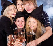 Group young people at nightclub. Stock Photos