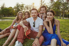 Group young people in the park Stock Photography