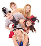 Group young people in party hat. Stock Photos