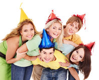 Group of young people in party hat. Stock Image