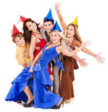 Group of young people in party hat. Royalty Free Stock Photos