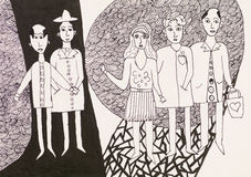 Group of young people, pen drawing Stock Images