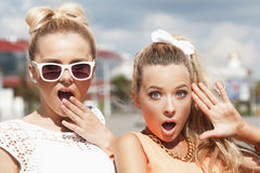 Group of young people. Portrait of two young women having fun. Outdoors, lifestyle Royalty Free Stock Photos