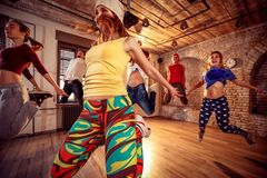 Young people practicing dancing stock photos