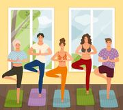 Group of young people practicing yoga lesson standing in Vrksasana exercise, Tree pose vector illustration