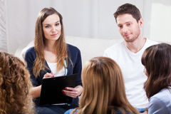 Group of young people during psychotherapy Stock Photos