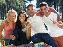 Group Of Young People Relaxing In Countryside Royalty Free Stock Image
