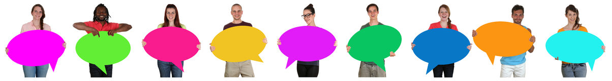 Group of young people in a row with empty speech bubbles and cop Stock Image
