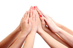 Group of young people's hands Royalty Free Stock Image