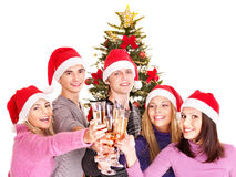 Group young people in santa hat. Stock Photography
