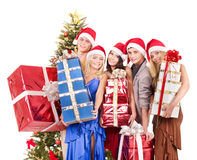 Group young people in santa hat. Royalty Free Stock Image