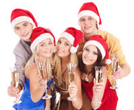 Group young people in santa hat Stock Photography