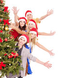 Group young people in santa hat. Stock Images