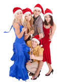 Group young people in santa hat Royalty Free Stock Photo