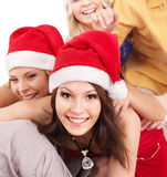 Group young people in santa hat . Royalty Free Stock Photography