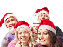 Group young people in santa hat . Stock Photography