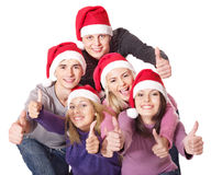 Group young people in santa hat . Stock Image