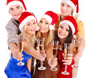 Group young people in santa hat. Stock Photo
