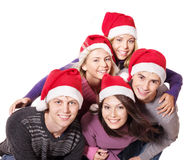 Group young people in santa hat . Stock Photo