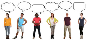 Group of young people saying opinion with speech bubble and copy