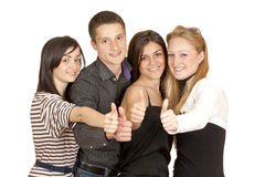 A group of young people shows the thumb Stock Image