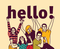 Group young people and signs hello. Royalty Free Stock Images