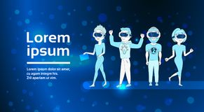 Group Of Young People Silhouette Wearing 3d Virtual Reality Glasses Over Abstract Futuristic Background Modern Vr. Technology Concept Flat Vector Illustration Stock Image