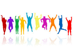 Group of young people silhouettes jumping Stock Photos