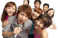 A group of young people singing Royalty Free Stock Photography