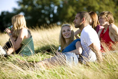 A group of young people sitting in a park, drinking beers Royalty Free Stock Image