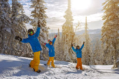 Group of young people with snowboard Royalty Free Stock Image