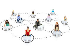 Group of Young People Social Networking Royalty Free Stock Photography