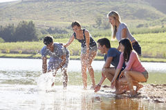 Group Of Young People Standing At Shore Of Lake Royalty Free Stock Image