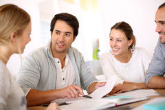 Group of young people talking business Stock Photo