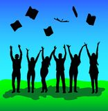 Group of young people threw up books after graduation and passi royalty free illustration
