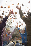 Group of young people throwing leaves Royalty Free Stock Image
