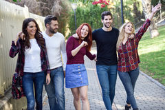 Group of young people together outdoors in urban background Royalty Free Stock Photos