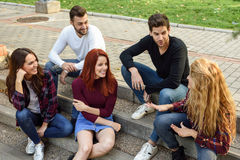 Group of young people together outdoors in urban background Royalty Free Stock Photography