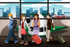 Group of young people  traveling together. A vector illustration of group of young people  traveling together in the airport Stock Photos