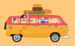Group of young people traveling in vintage bus Camper van concept. Stock Photos