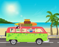 Group of young people traveling in vintage bus Camper van on the sea. Start of Summer beach season. Stock Photos