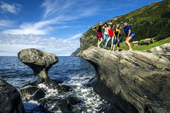 Group of young people is travelling around the Norway stock photography