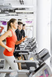 Group of young people using treadmills in a gym Royalty Free Stock Photos