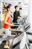 Group of young people using treadmills in a gym Royalty Free Stock Images