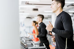 Group of young people using treadmills in a gym Stock Images