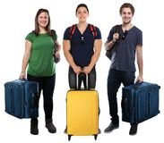 Group of young people vacation holidays luggage bag travel trave. Ling isolated on a white background Stock Photos