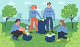 Group of young people volunteers cleaning city park. Vector illustration royalty free illustration