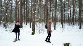 Group of young people is walking along the forest`s trail stock video footage